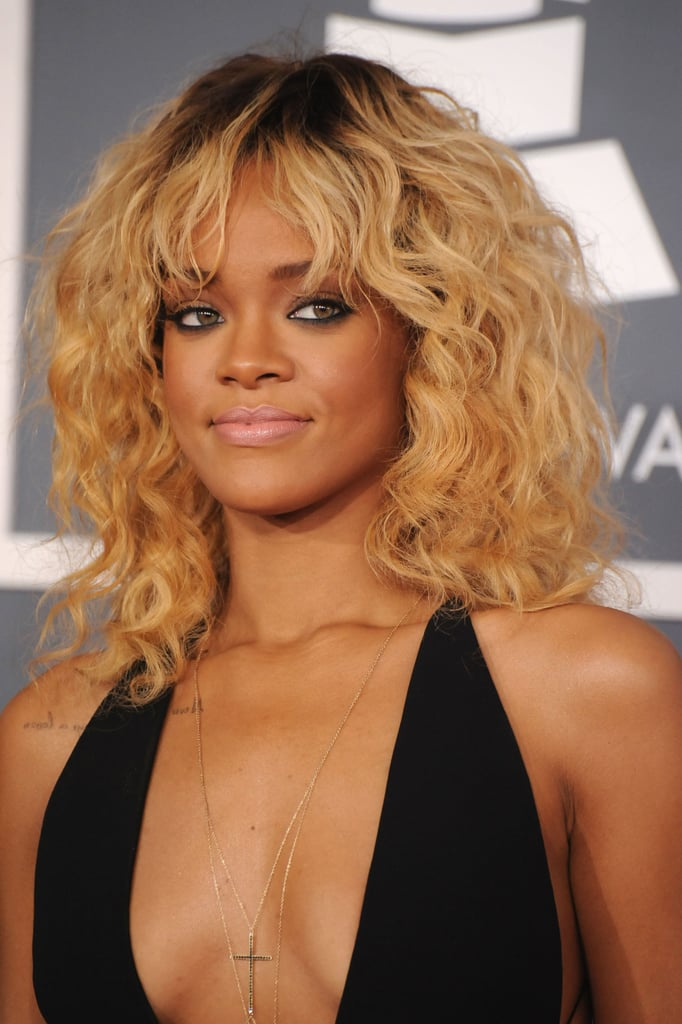 Rihanna with blonde hair at the Grammys.