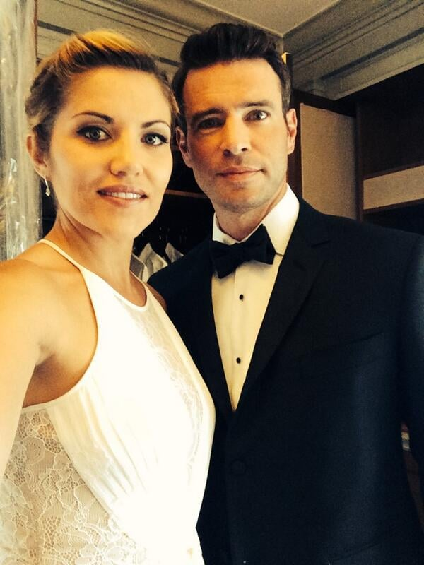 "Marika Dominczyk and Scott showed off their evening wear. ""Can't stop tweeting,"" Marika wrote. Source: Twitter user TheMeanChick"