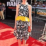Krysten Ritter charmed in a bright, peplum-trimmed Thakoon dress at the premiere of The Lone Ranger in LA.