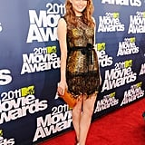 Bold fringe and lace feels fresh for evening on Emma's Bottega Veneta at the MTV Movie Awards in 2011.