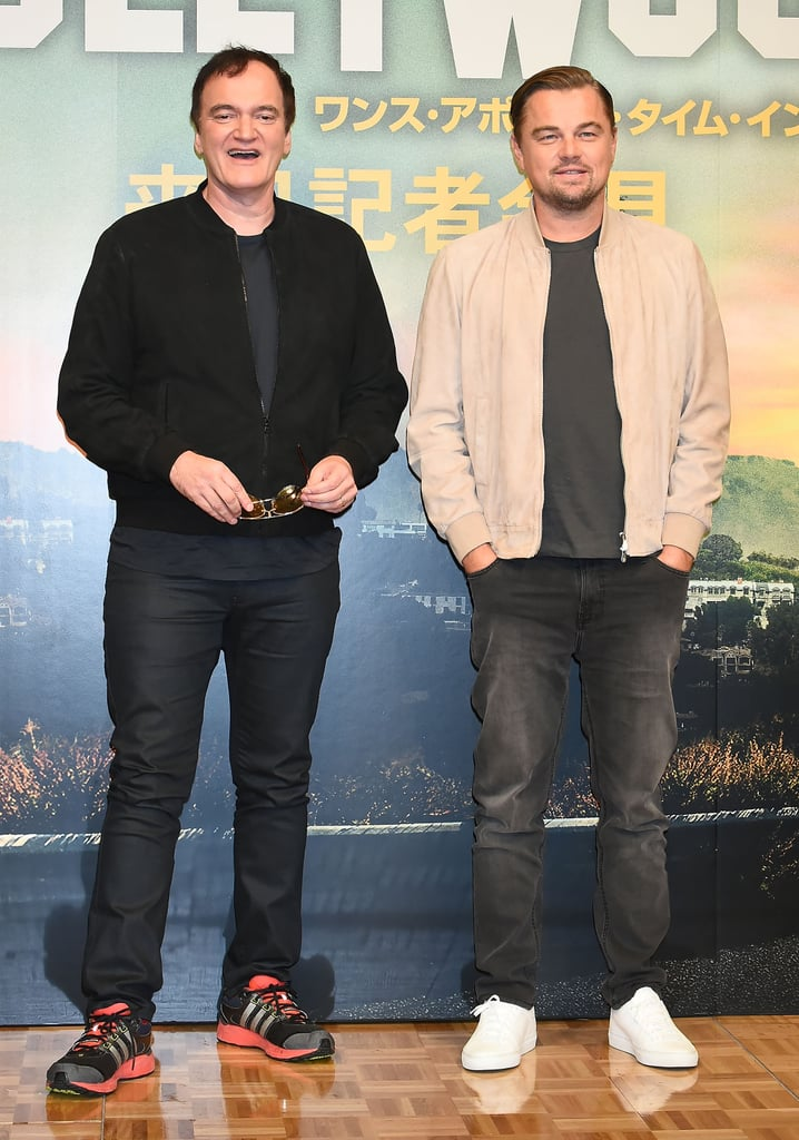 Quentin Tarantino and Leonardo DiCaprio at a press conference for Once Upon a Time in Hollywood in Tokyo.