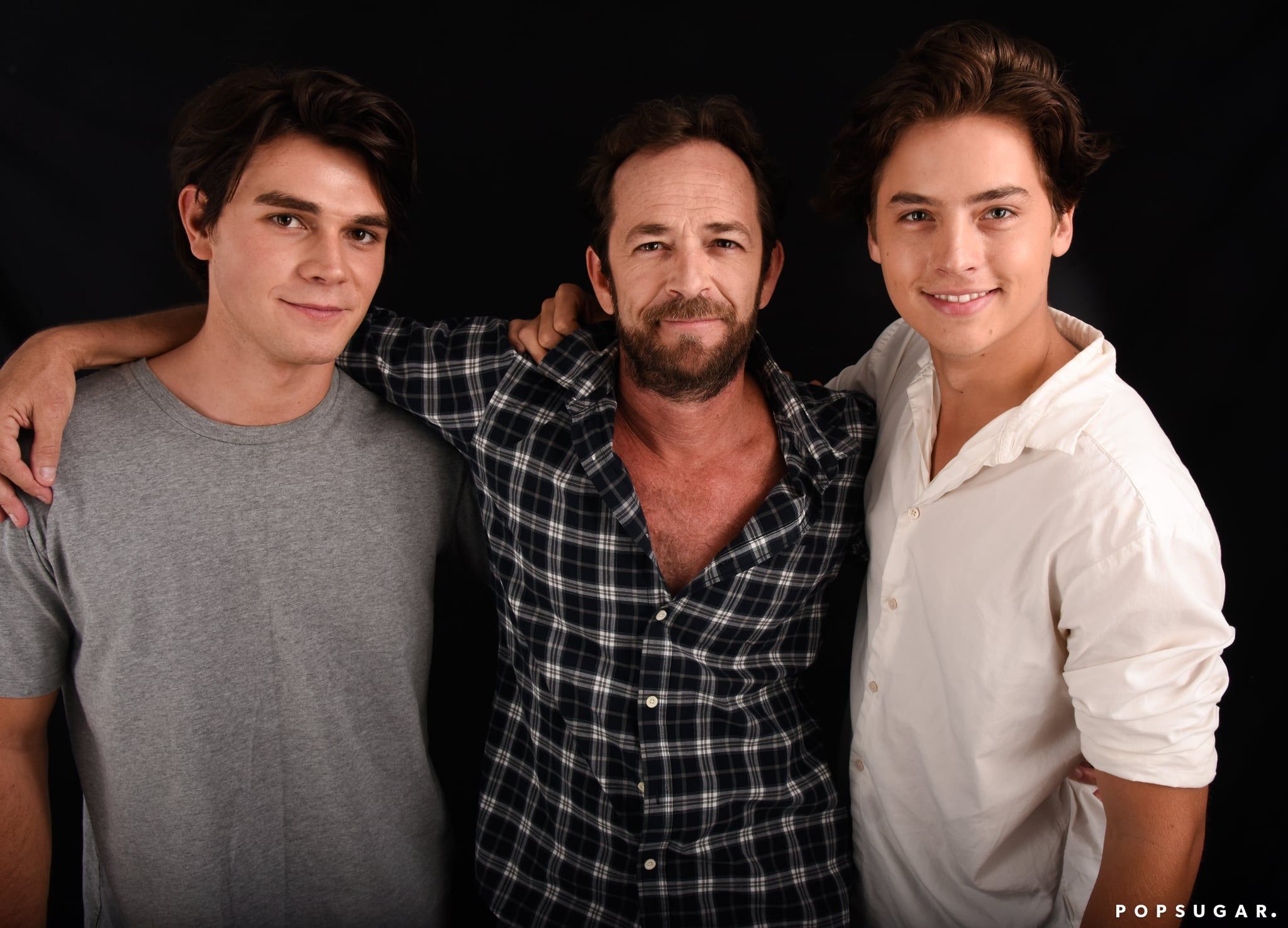 Mandatory Credit: Photo by Stephen Lovekin/TVline/REX/Shutterstock (5780835ay)K.J. Apa, Luke Perry, and Cole Sprouse from the cast of 'Riverdale'Portrait Studio, Day 3, Comic-Con International, San Diego, USA - 23 Jul 2016
