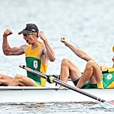South Africa's rowing team showed excitement after winning gold.