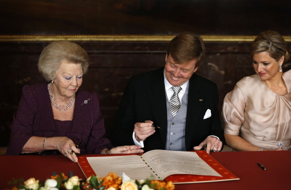 Former Queen Beatrix signed the Act of Abdication alongside her son, now king, Willem-Alexander.