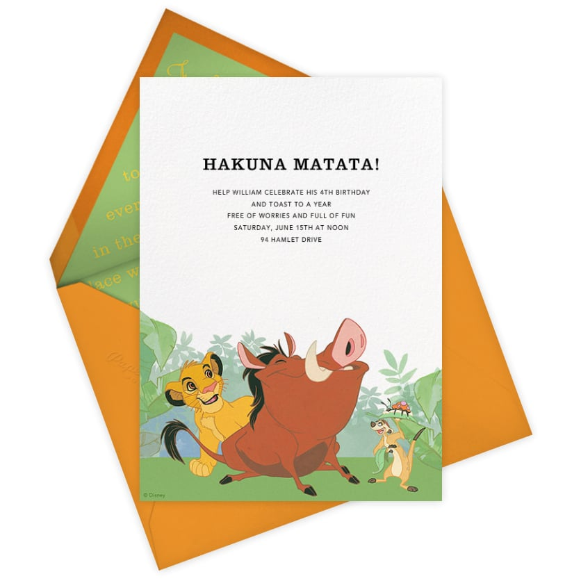 The Lion King Disney Paperless Post Party Invitations Popsugar