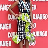 For the Django Unchained photo call in Rome, Kerry showed off a daring Peter Pilotto dress with mixed prints, a peplum, and strategic cut-outs. She finished the bold look with a pair of laser-cut Nicholas Kirkwood heels.