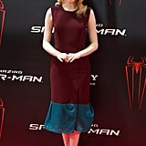 Emma looked impossibly chic in a darker two-toned Roksanda Ilincic dress and striped Christian Louboutin sandals at The Amazing Spider-Man photo call in Madrid.