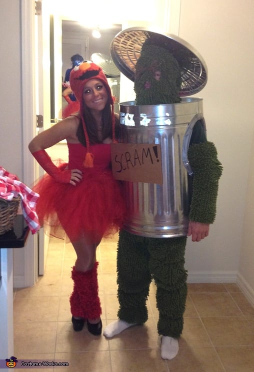 Elmo And Oscar The Grouch  Halloween Couples Costume -4643