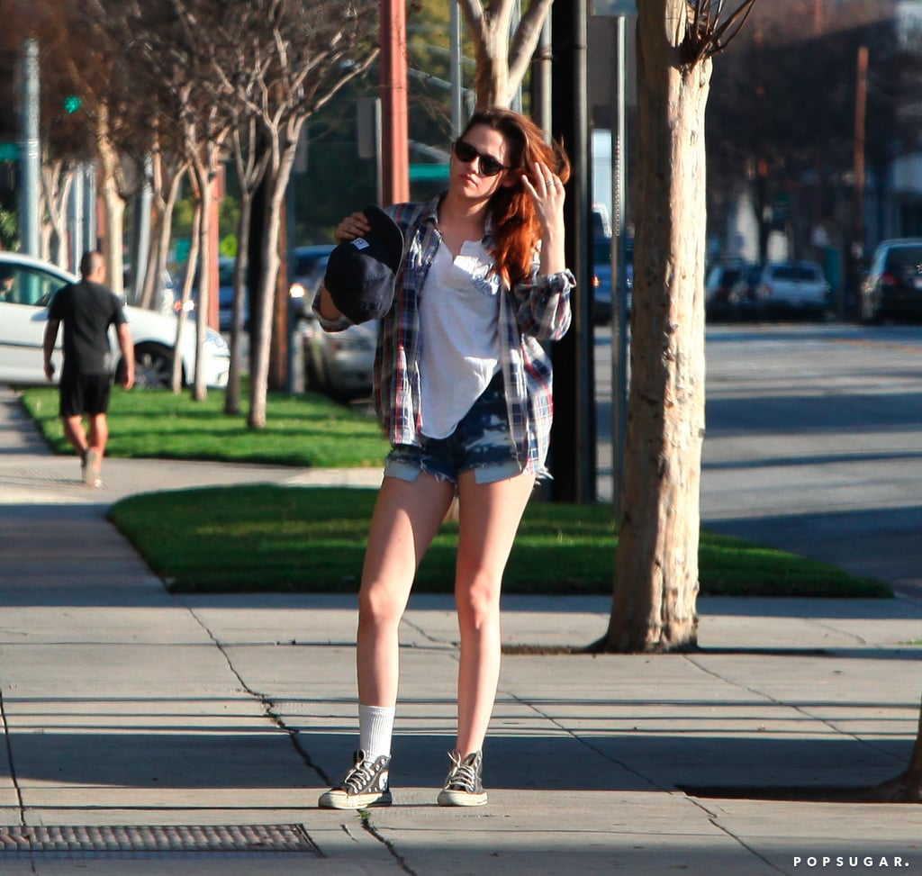 Kristen Stewart wore a plaid shirt.