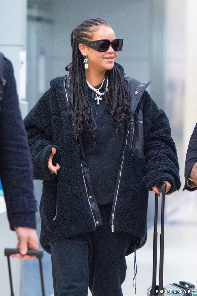 Rihanna Wore Crystal Bottega Veneta Heels to the Airport