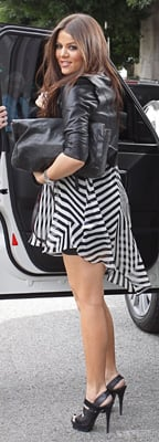 Khloe Kardashian Wears Striped ALC to Baby Shower