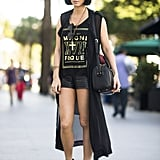 Tap into your tough-girl side with a rocker tee and buckled booties. Source: Le 21ème | Adam Katz Sinding