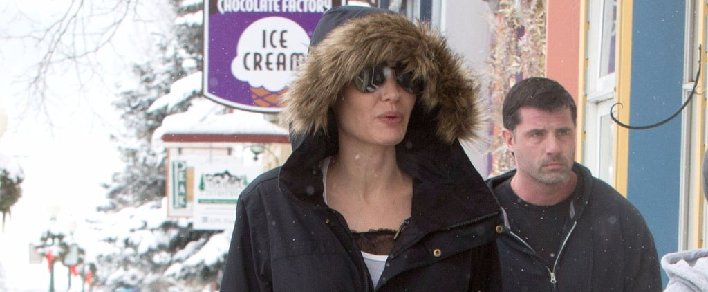 Angelina Jolie Shearling Parka Jacket in Colorado Jan. 2017