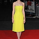 Carey Mulligan wore a bright yellow Dior cocktail dress, complimented by black heels also by the brand, to the premiere of Inside Llewyn Davis during the BFI London Film Festival