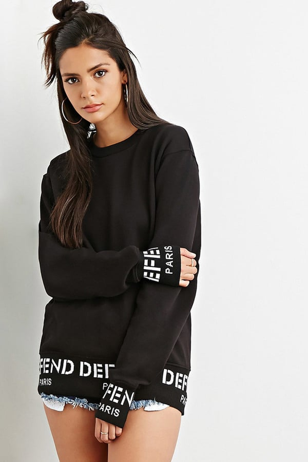 be99e334a47 FOREVER 21 + Defend Paris Graphic Trim Sweatshirt ( 110 ...