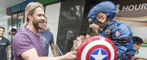Sorry, Chris Evans, but Chris Hemsworth Just Met the Most Adorable Captain America