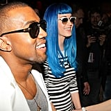 Katy Perry, Her Blue Wig, and Kanye West Catch Up in Fashion in France