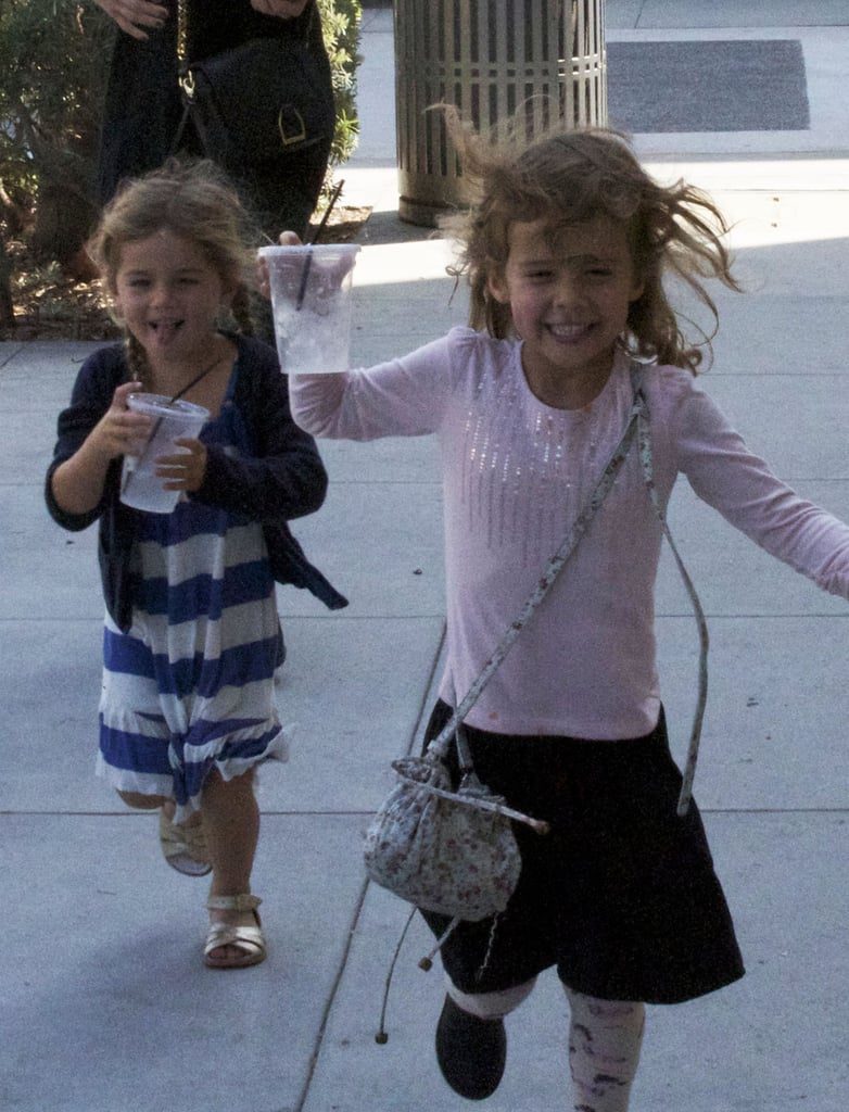 Honor Warren laughed with a friend while on a playdate in LA.