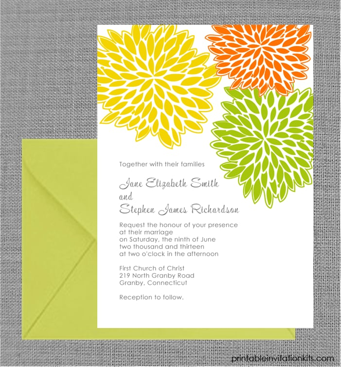 Spring Petal Cluster Wedding Invitation