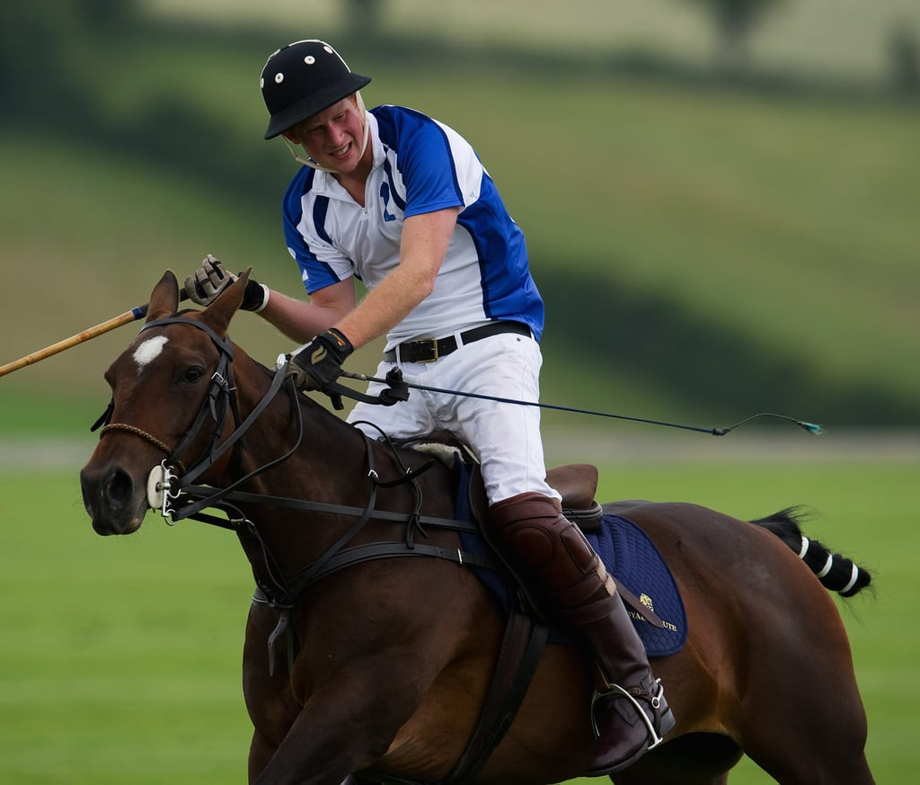 Prince Harry was looking good atop a horse during the British Polo Day Charity Cup in Watership Down on Saturday. While his brother, Prince William, and Kate Middleton visit Canada, Harry is holding down the fort at home in England. On Friday Prince Harry attended the Wireless Festival in Hyde Park with his cousin Zara Phillips. Prince Harry didn't bring a romantic date along for either the polo match or the festival, though he is rumored to have a new lady in his life. He split yet again from Chelsy Davy and weathered another round of reports about his relationship with Pippa Middleton, but the most recent stories say that Prince Harry is seeing model Florence Brudenell-Bruce.