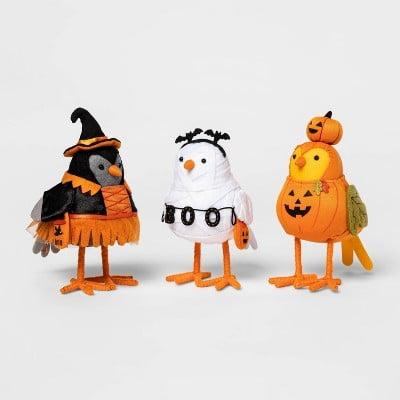 3pk Featherly Friends Bird Halloween Decorative Figurine