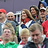 Kate also used her Team GB jacket to keep warm in the stands.