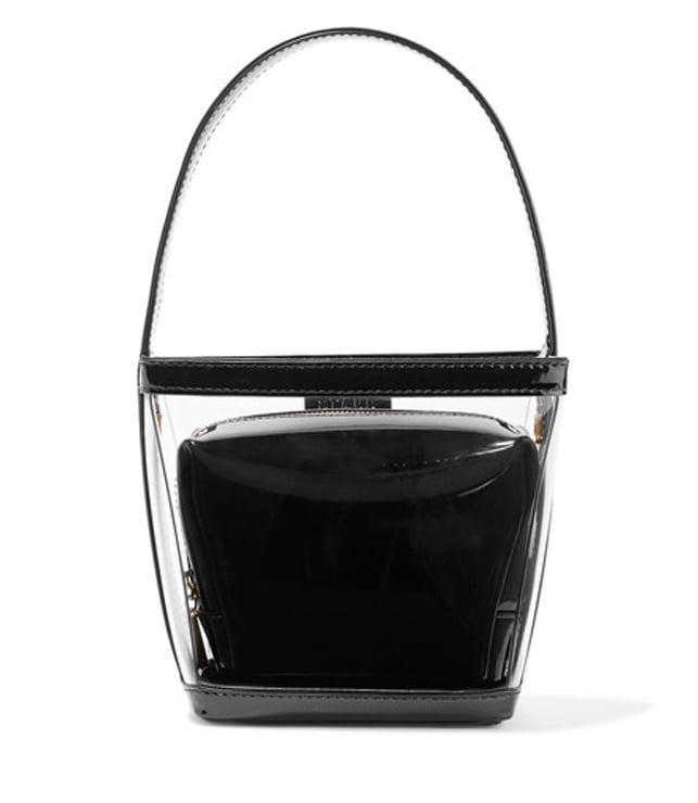 PVC and Patent-Leather Tote in Black