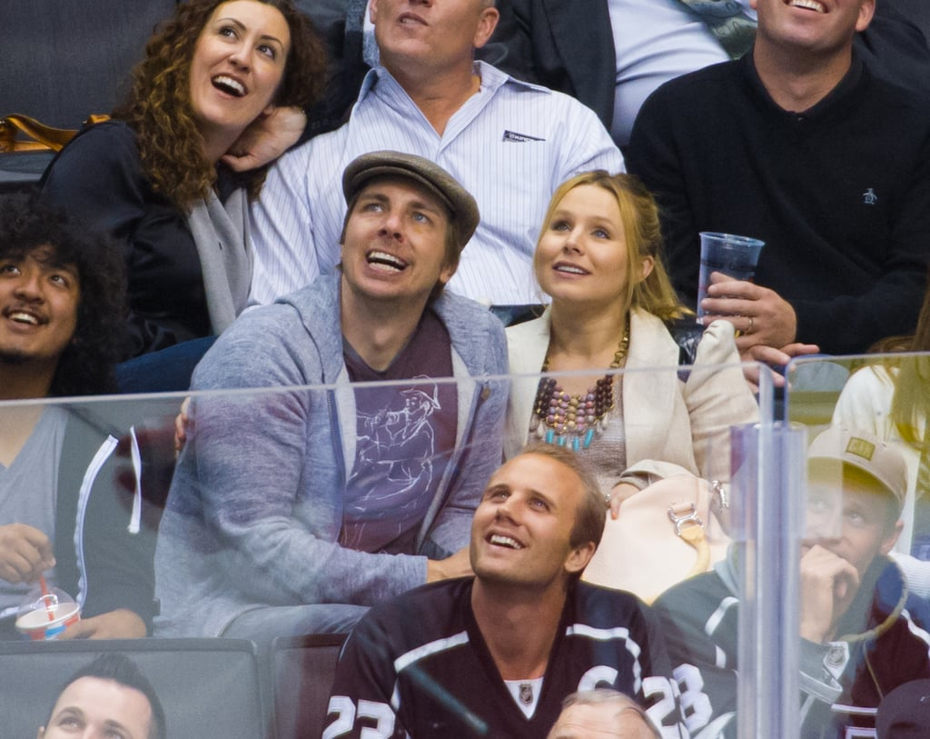 Dax Shepard and Kristen Bell smiled while watching the Kings game in LA.