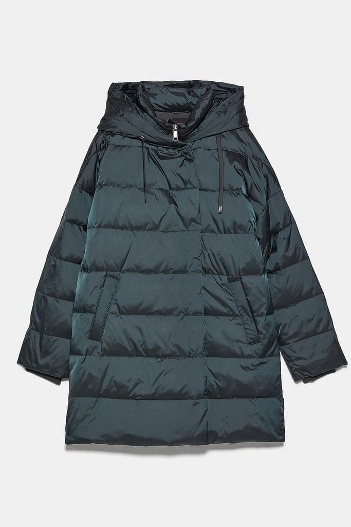 Zara Hooded Down Puffer Jacket