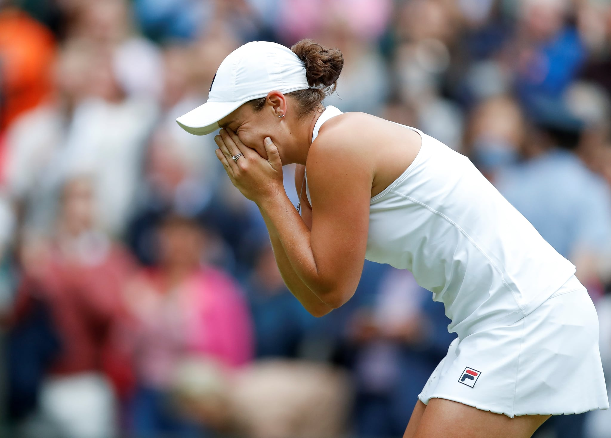 Ashleigh Barty of Australia celebrates after the women's singles final between Ashleigh Barty of Australia and Karolina Pliskova of the Czech Republic at Wimbledon tennis Championship in London, Britain, on July 10, 2021. (Photo by Han Yan/Xinhua via Getty Images)