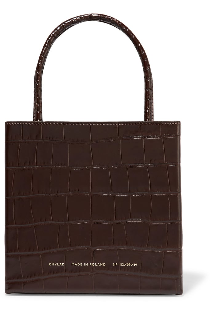 CHYLAK Square Glossed Croc-Effect Leather Tote ($378.38)