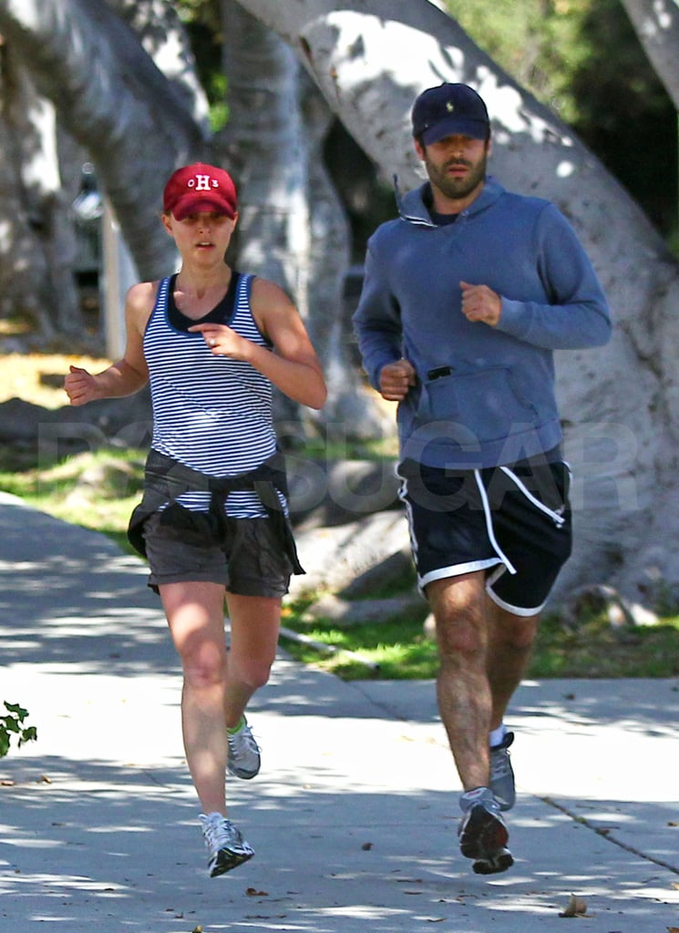 Natalie Portman and her fiancé Benjamin Millepied exercised together in their LA neighborhood.