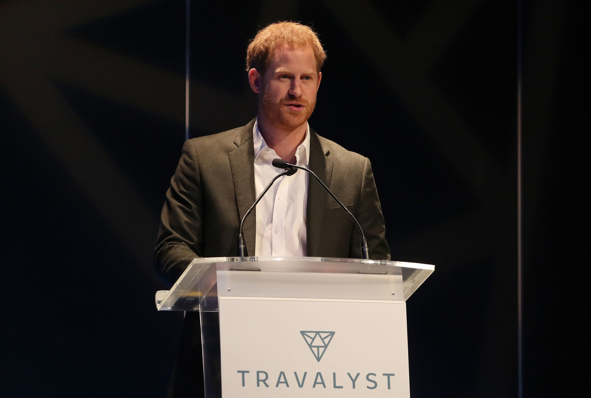 EDINBURGH, SCOTLAND - FEBRUARY 26: Prince Harry, Duke of Sussex speaks as he attends a sustainable tourism summit at the Edinburgh International Conference Centre on February 26, 2020 in Edinburgh, Scotland. (Photo by Andrew Milligan-WPA Pool/Getty Images)