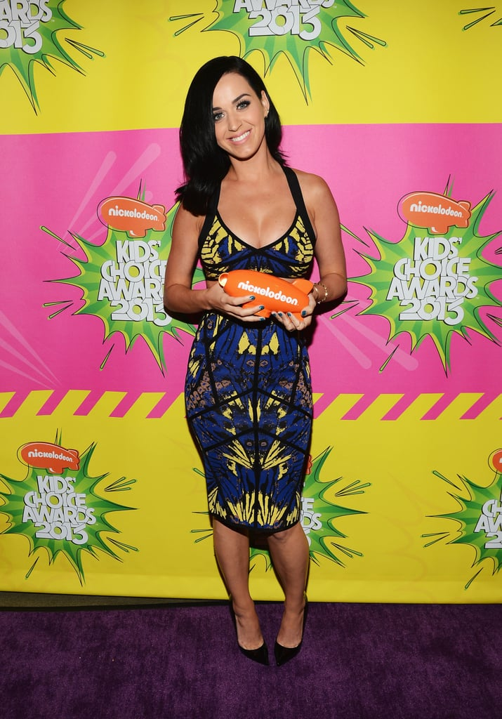 Katy Perry showed off her award for favorite female performer backstage.