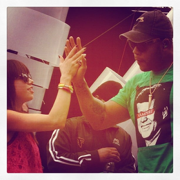 Carly Rae Jepsen got a high five from Flo Rida. Source: Instagram user carlyraejepsen