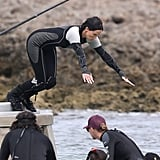 Jennifer Lawrence took a dive on the set of Catching Fire.