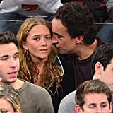 Olivier Sarkozy kissed Mary-Kate Olsen on the cheek.