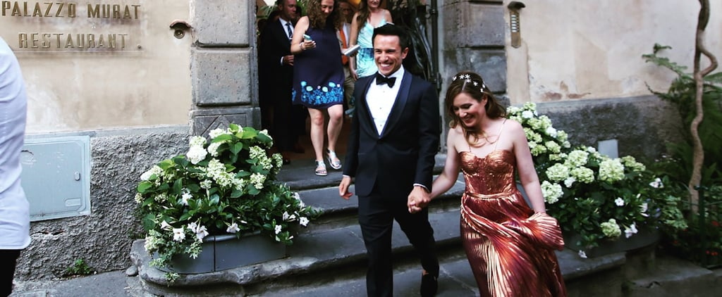 This Bride Wore a Rose Gold Dress to Her Italian Wedding, and OMG, It's Amazing