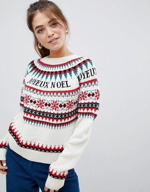 ASOS Design Fairisle Slogan Christmas Sweater