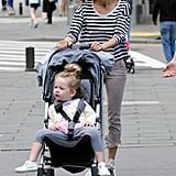 Sarah Jessica Parker wore shades and stripes as she walked with Loretta in NYC.