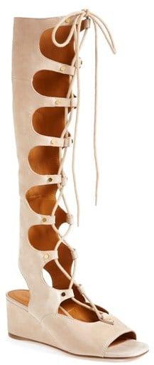 87c2a0960b4 Chloé Suede Wedge Gladiator Sandal
