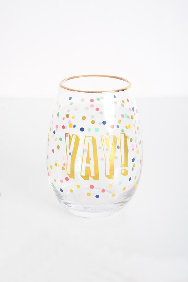 Slant Collections Yay! Stemless Wine Glass