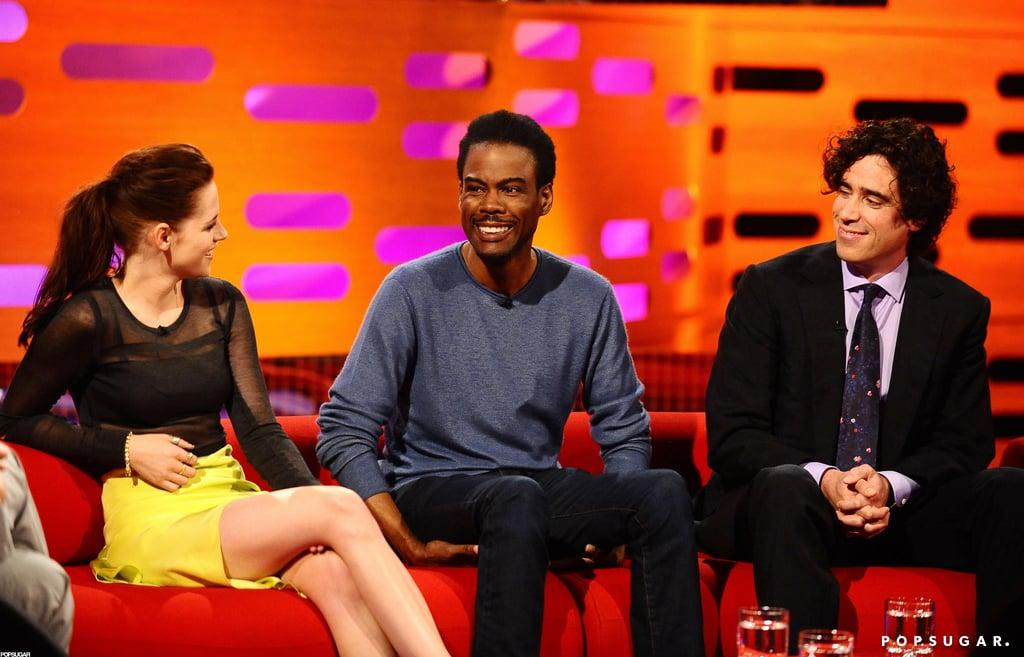 Kristen Stewart was on The Graham Norton Show with Chris Rock and Stephen Mangan.
