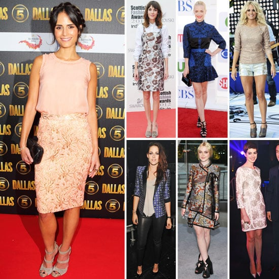 Celebrities Wearing Brocade Prints Fall 2012