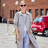 How to Style Workout Clothes: Leggings + T-shirt + Trench Coat + Sneakers