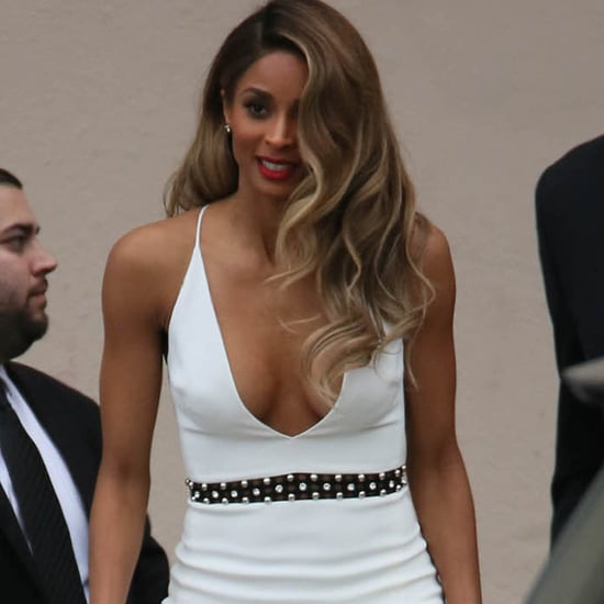 Ciara in White Dress on Jimmy Kimmel Live May 2016