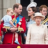 Kate and Prince William stole a cute glance while on the balcony of Buckingham Palace for the Trooping the Colour ceremony in June.