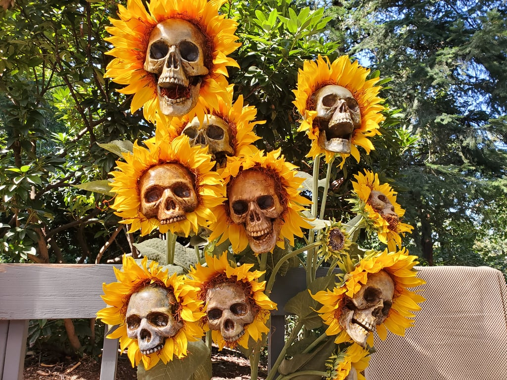 "In today's badass Halloween decoration news, these DIY sunflower skulls are bone-chillingly beautiful, and I need a whole garden full of them ASAP. Handcrafted by Oregon artist and brewery owner Beejay Oslon, the spooky flowers are simply made of ""cheap plastic skulls,"" hot glue, paint, fake moss material, and artificial sunflowers.  ""I was inspired to start making my own Halloween decorations last year after finding a Facebook group called 'Halloween DIY Projects,'"" Beejay told POPSUGAR via email. ""The skull flowers themselves came to me when I was shopping all the after-Halloween sales . . . That night I started slicing up plastic skulls and knew they were going to be great."" ""Collect a variety of sizes of skulls and flowers and see which will fit well together.""  Rather than purchasing decorations at a store, Beejay got to work sanding, cleaning, priming, and painting the skulls, which will ultimately become part of a larger Halloween project featuring a skeleton gardener and custom watering can. ""In all, the flowers pictured cost about $100 to make, but that's largely because the large sunflowers themselves were $15 a pop, which was already half off. You could easily do this at a smaller scale for a few bucks worth of dollar store finds."" If you are looking to re-create these strangely beautiful skulls for yourself, Beejay recommends plenty of patience. ""Collect a variety of sizes of skulls and flowers and see which will fit well together,"" he said. ""Take your time with the prep work . . . I actually had to learn how to make a mold and cast the plastic for those skulls, which took a bunch of research and way more time than I had intended to spend on this, but in the end I'm glad I didn't rush it."" Take a closer look at the awesome sunflower skulls ahead.      Related:                                                                                                           This DIY Faux Wood Pumpkin Decoration Is Made Entirely From Dollar Store Products"