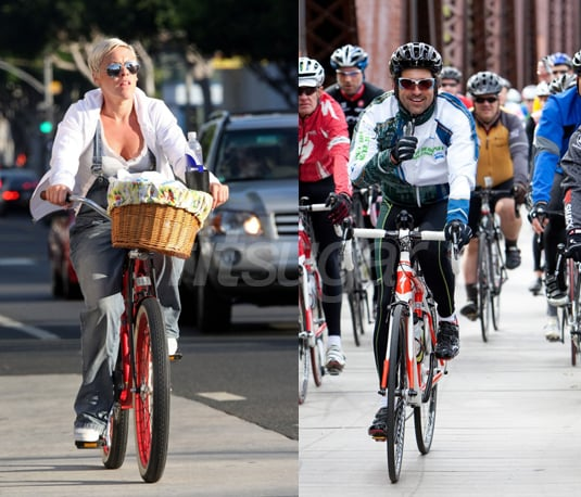 Pictures Of Pink And Patrick Dempsey Biking Popsugar Fitness