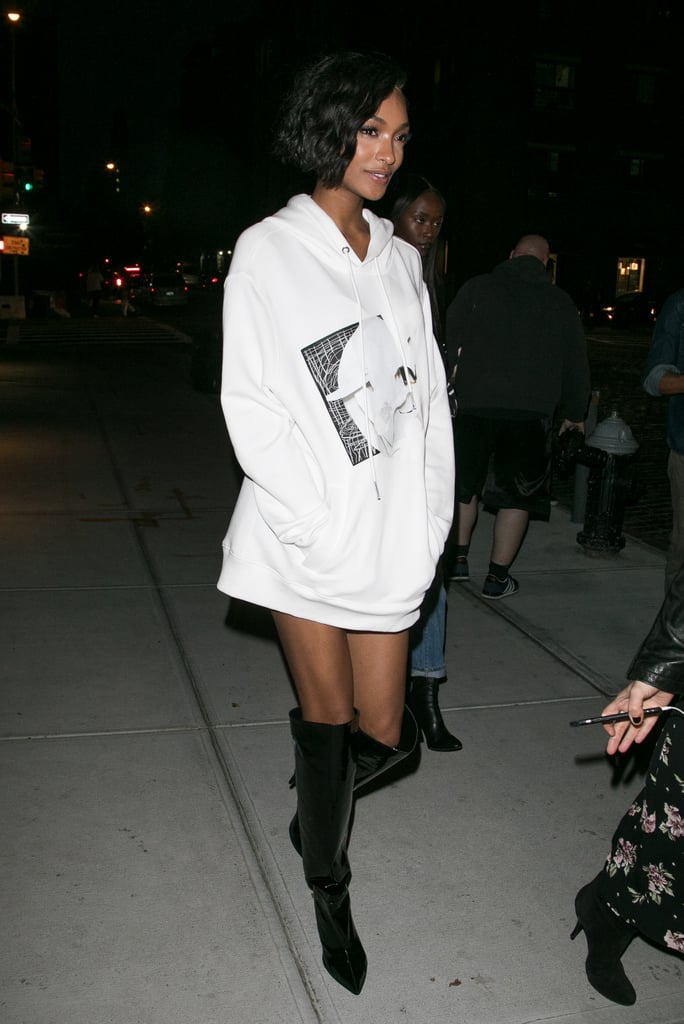 Jourdan Dunn Wore a Baggy White Hoodie and Knee-High Boots